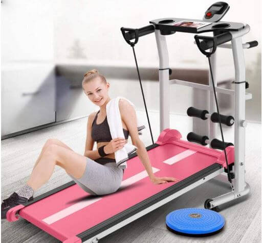 CHJ Folding Treadmill, Multi-functional Silent Fitness Equipment-image
