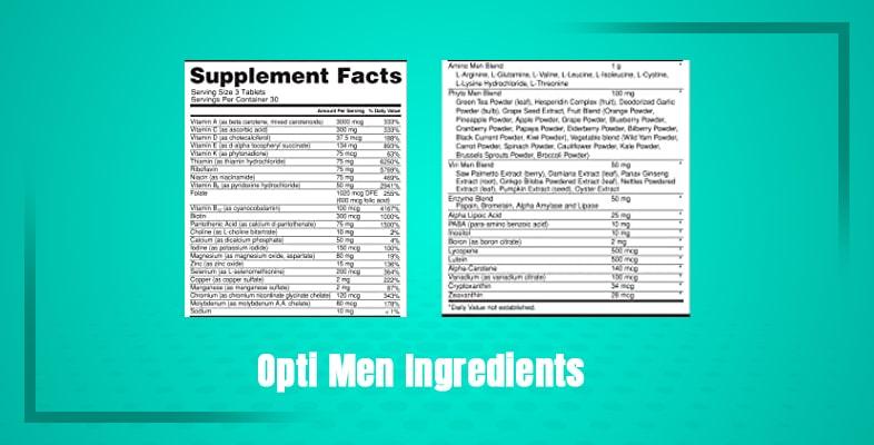 Opti men Ingredients